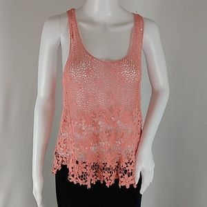 Fang Coral Crochet Lace Flowers Tank Top